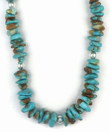 Sterling Silver Fox Turquoise Nugget Necklace - Adjustable Length (NK3726)