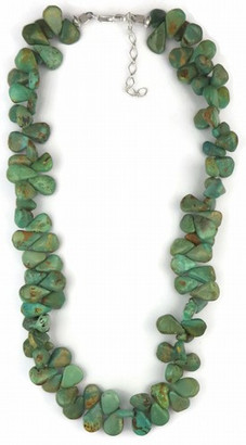 """Emerald Valley Turquoise Tab Necklace 16"""" - 18""""- Green Turquoise Jewelry"""
