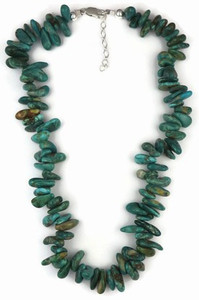 "Sterling Silver Fox Turquoise Nugget Necklace 16"" - 18"""