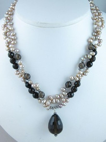 Smokey Quartz & Freshwater Pearl Necklace