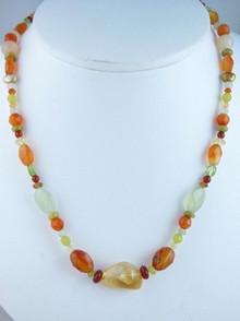 Sterling Silver Beaded Gemstone Necklace - Adjustable Length