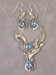 Dainty Blue Topaz Silver Necklace & Earring Set