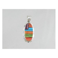 Multi Gemstone Sculpted Inlay Pendant (PD0073)