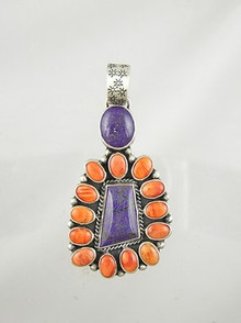 Sterling Silver Sugilite & Spiny Oyster Shell Pendant