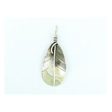 Sterling Silver Feather Pendant by Native American Artist Lena Platero