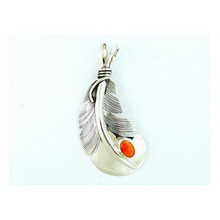Sterling Silver Spiny Oyster Shell Feather Pendant by Lena Platero, Native American Navajo Indian