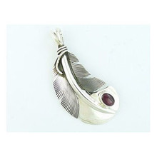 Sterling Silver Purple Spiny Oyster Shell Feather Pendant by Lena Platero, Native American Jewelry