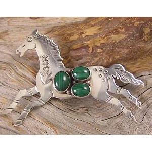 Malachite Horse Pin