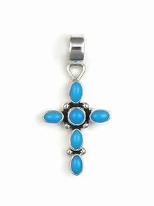 Sleeping Beauty Turquoise Cross Pendant