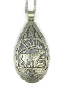 Sterling Silver Elk Pendant by Freddy Charley, Navajo Indian
