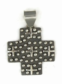 Sterling Silver Cross Pendant by Ronnie Willie, Navajo (PD3553)