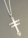 Double Bar Silver Cross Pendant with Adjustable Length Chain (PD3569)
