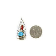Effie Calavaza Silver Turquoise & Coral Pendant (PD3783)