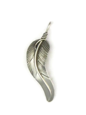fdde2f8d4f2b7f Sterling Silver Feather Pendant by Lena Platero, Native American Navajo  Indian
