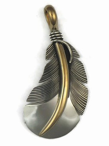 12k Gold & Sterling Silver Feather Pendant by Lena Platero, Navajo (PD5010)