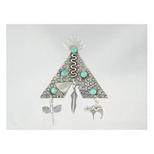 Sterling Silver & Tee Pee Turquoise Pin