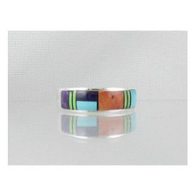 Multi Gemstone Inlay Ring Size 8