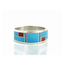 Turquoise & Coral Inlay Ring Size 10