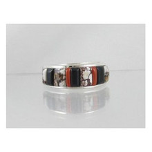 Magnesite, Jet & Coral Inlay Ring Size 10