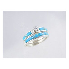 Sleeping Beauty Turquoise Inlay Wedding Band Ring Set with CZ Size 8 1/2