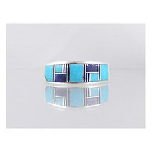 Sleeping Beauty Turquoise & Lapis Inlay Ring Size 10