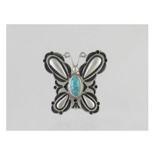 Sterling Silver Turquoise Butterfly Ring Size 9