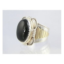 14k Gold & Sterling Silver Onyx Ring Size 10