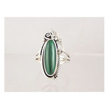 Sterling Silver Malachite Ring Size 8
