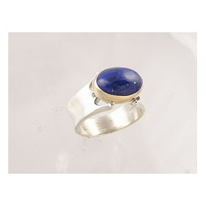 14k Gold & Silver Lapis Ring Size 7 1/2 (RG1257-S7)
