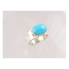 14k Gold & Silver Sleeping Beauty Turquoise Ring Size 9