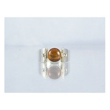 14k Gold & Silver Amber Ring Size 6 1/2