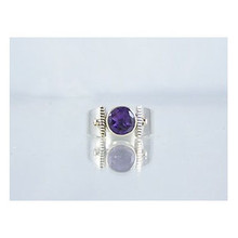 14k Gold & Silver Amethyst Ring Size 8