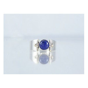 14k Gold & Silver Lapis Ring Size 5 1/2