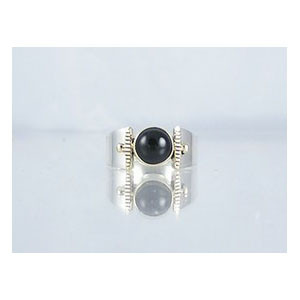 14k Gold & Silver Onyx Ring Size 5 1/2 (RG1705-G20)