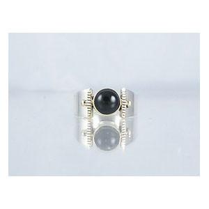 14k Gold & Silver Onyx Ring Size 8 1/2 (RG1705-G23)