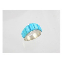 Sterling Silver Turquoise Inlay Ring Size 5