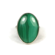 Sterling Silver Large Malachite Gem Ring Size 8