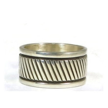 Wide Sterling Silver Band Ring Size 11 by Bruce Morgan, Navajo