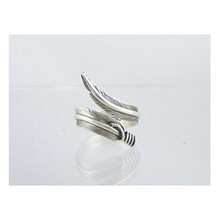Sterling Silver Feather Wrap Ring Size 9 Adjustable by Lena Platero, Navajo