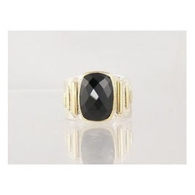 14k Gold & Silver Faceted Onyx Ring Size 6