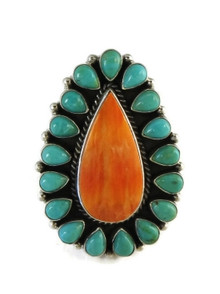 Large Turquoise & Spiny Oyster Shell Cluster Ring Size 9 by LaRose Ganadonegro, Navajo