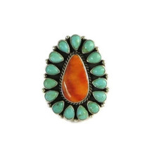 Turquoise & Spiny Oyster Shell Cluster Ring Size 7 by LaRose Ganadonegro, Navajo