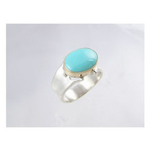 14k Gold & Silver Turquoise Ring Size 9 (RG2360)