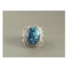Natural Spider Web Chinese Turquoise Gem Ring Size 10