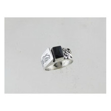 Contemporary Sterling Silver Onyx Ring Size 9
