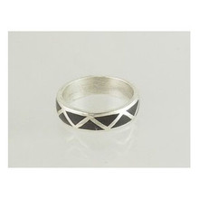 Silver Black Jet Inlay Band Ring Size 13