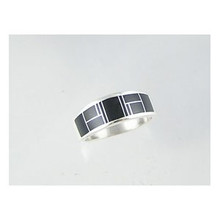 Sterling Silver Jet Inlay Ring Size 11 1/2