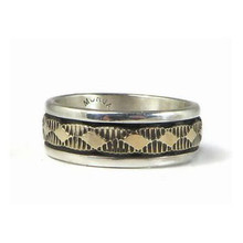 14k Gold Sterling Silver Band Ring Size 8 1/4 by Bruce Morgan, Navajo