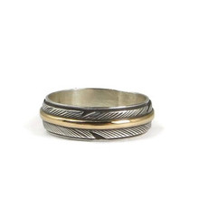 12k Gold & Sterling Silver Feather Ring Size 6  by Lena Platero
