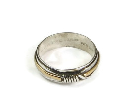 12k Gold & Sterling Silver Feather Ring Size 8 by Lena Platero (RG3800-S8)